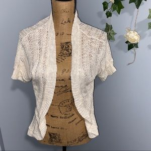 Small petite lace knitted tan cardigan